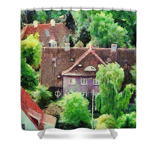 Rooftops Shower Curtain by Jeff Kolker