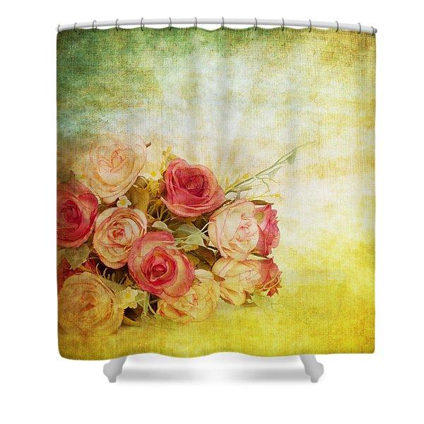 Roses Pattern Retro Design Shower Curtain by Setsiri Silapasuwanchai