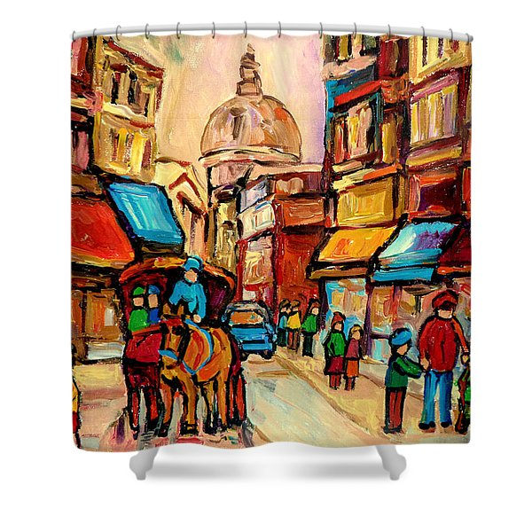RUE ST. PAUL OLD MONTREAL STREETSCENE Shower Curtain by CAROLE SPANDAU