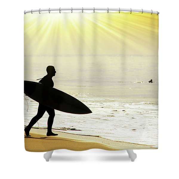 rushing surfer Shower Curtain by Carlos Caetano