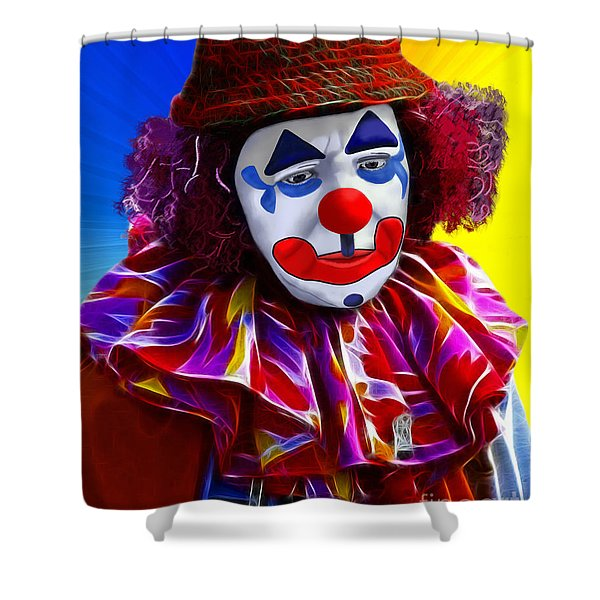 Sad Clown Shower Curtain by Methune Hively