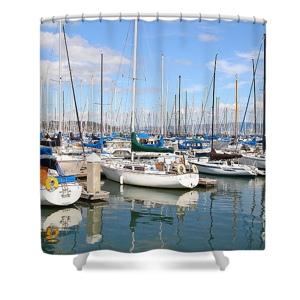 Sail Boats at San Francisco China Basin Pier 42 With The Bay Bridge in The Background . 7D7664 Shower Curtain by Wingsdomain Art and Photography