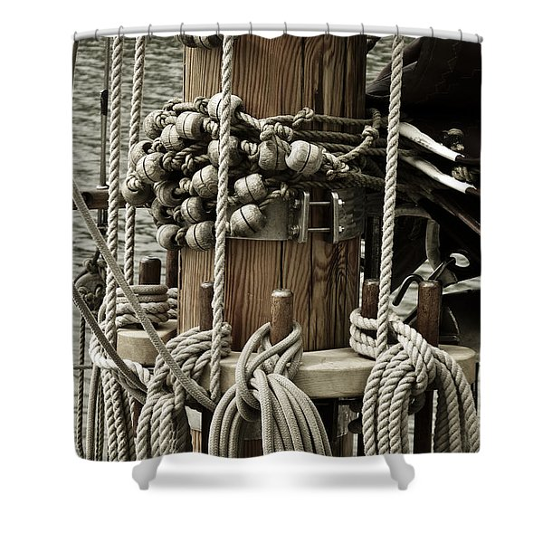 Shower Curtains - Sailboat Detail 3952 Shower Curtain by Frank Tschakert