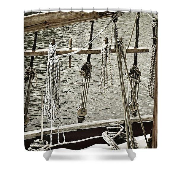 Shower Curtains - Sailboat Detail 3954 Shower Curtain by Frank Tschakert