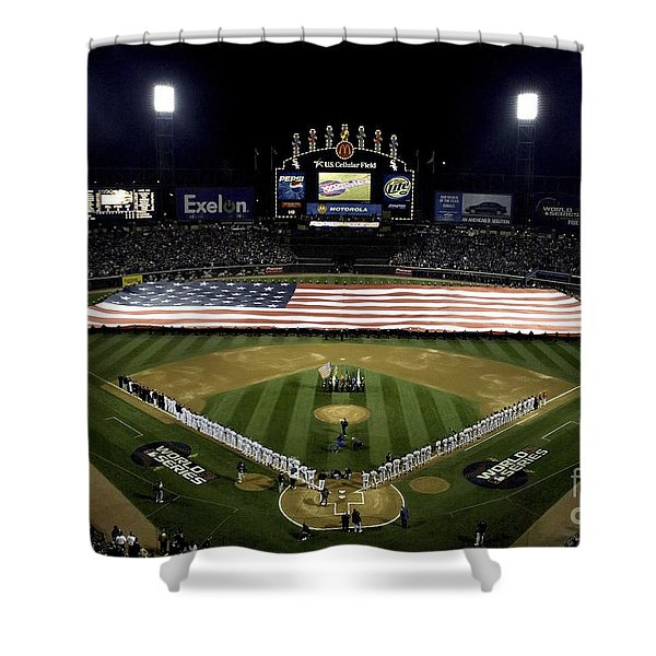 Sailors Unfurl The Stars And Stripes Shower Curtain by Stocktrek Images