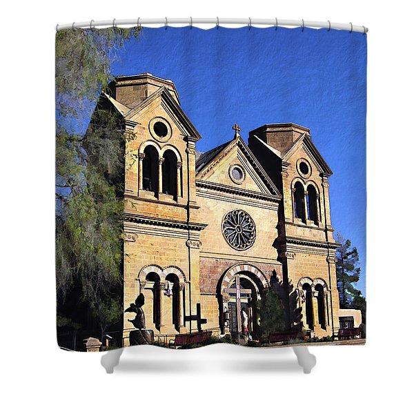 Saint Francis Cathedral Santa Fe Shower Curtain by Kurt Van Wagner