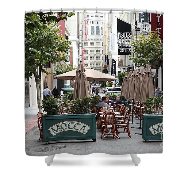 San Francisco - Maiden Lane - Outdoor Lunch At Mocca Cafe - 5d17932 Shower Curtain by Wingsdomain Art and Photography