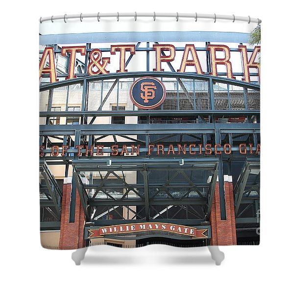 San Francisco Giants ATT Park Willie Mays Entrance . 7D7635 Shower Curtain by Wingsdomain Art and Photography