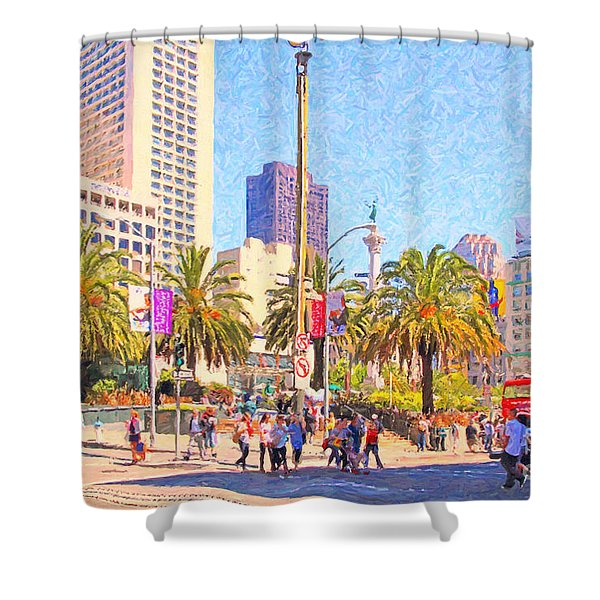 San Francisco Union Square Shower Curtain by Wingsdomain Art and Photography