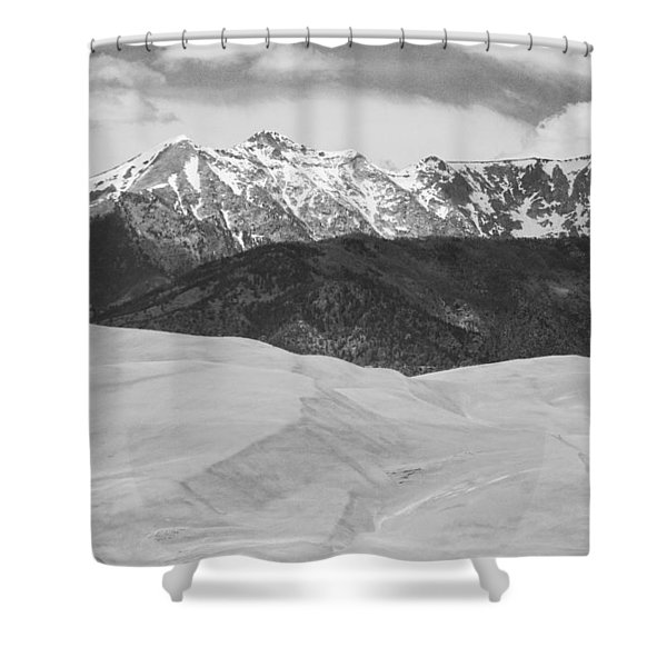 Sangre De Cristo Mountains And The Great Sand Dunes Bw Shower Curtain by James BO  Insogna