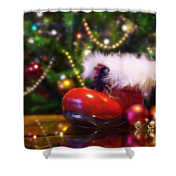 Santa-claus boot Shower Curtain by Carlos Caetano