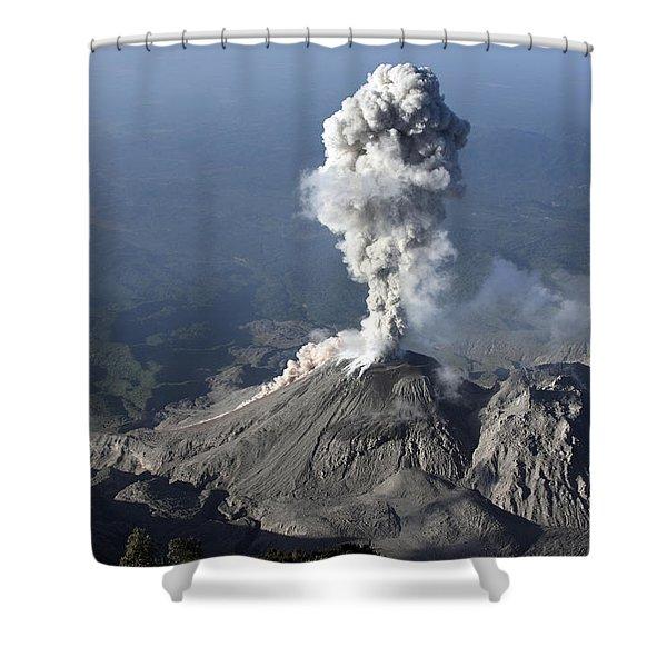 Santiaguito Ash Eruption, Guatemala Shower Curtain by Martin Rietze