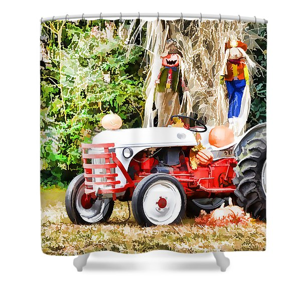 Scarecrow And Pumpkins 2 Shower Curtain by Lanjee Chee