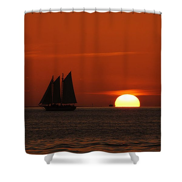 Schooner In Red Sunset Shower Curtain by Susanne Van Hulst