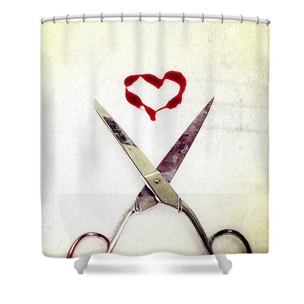 scissors and heart Shower Curtain by Joana Kruse