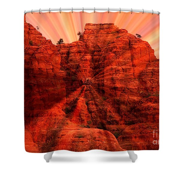 Sedona Sunset Energy - Abstract Art Shower Curtain by Carol Groenen