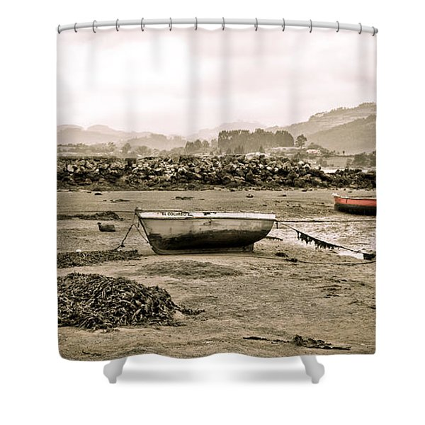 - Sepia Seascape Shower Curtain by Frank Tschakert