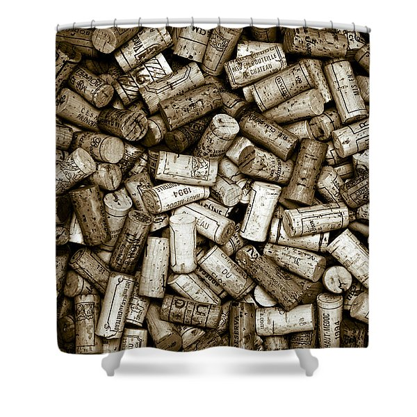 - Sepia Wine Corks Shower Curtain by Frank Tschakert
