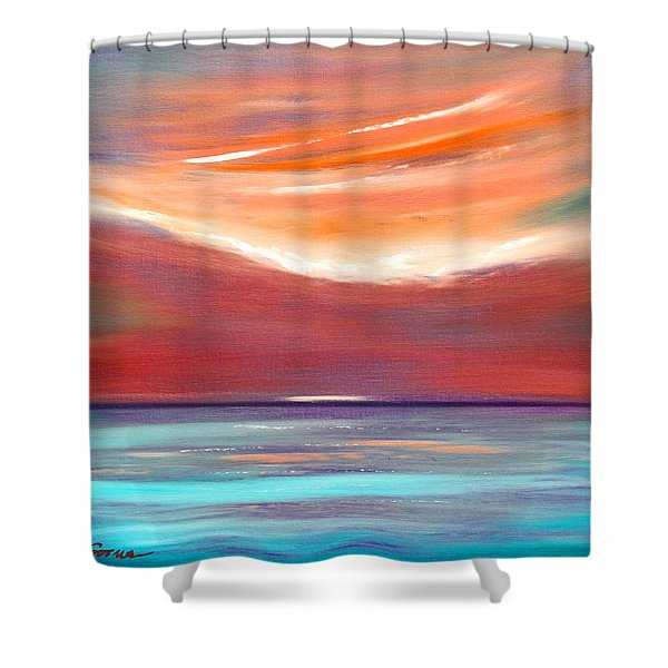 Shower Curtains   Serenity 2   Abstract Sunset Shower Curtain By Gina De  Gorna