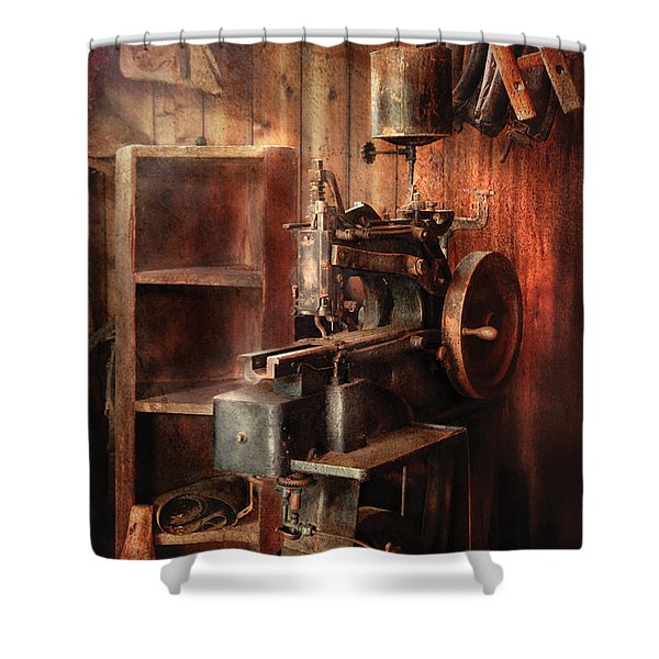 Sewing - Sewing Machine for Saddle Making Shower Curtain by Mike Savad