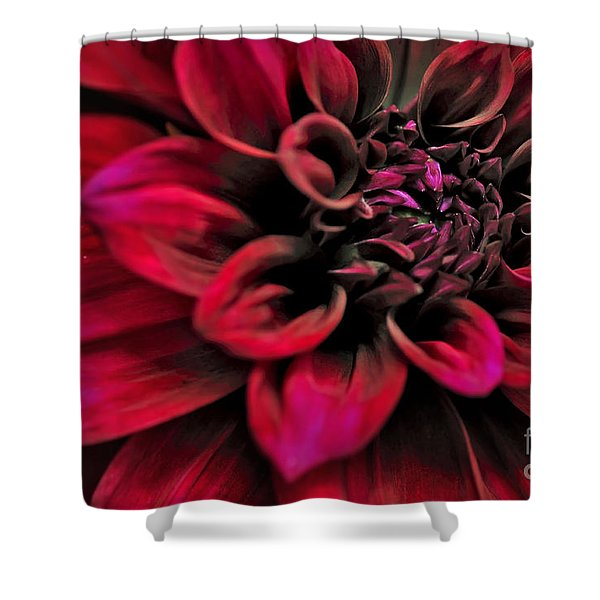 Shades of Red - Dahlia Shower Curtain by Kaye Menner