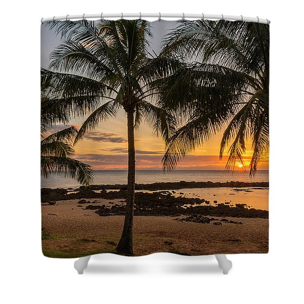 Sharks Cove Sunset 4 - Oahu Hawaii Shower Curtain by Brian Harig