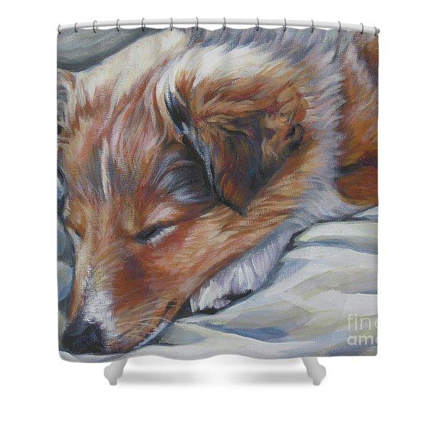 Shetland Sheepdog Sleeping Puppy Shower Curtain by Lee Ann Shepard