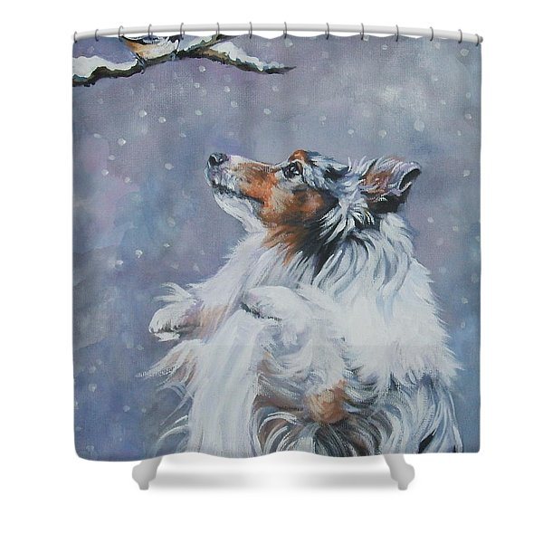 Shetland Sheepdog With Chickadee Shower Curtain by Lee Ann Shepard