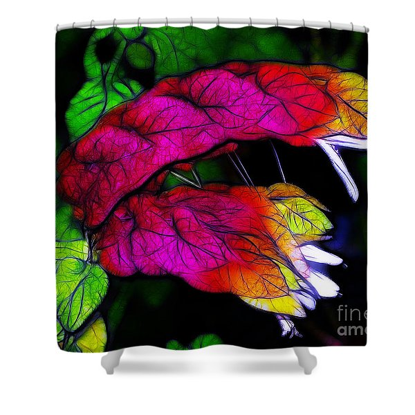 Shrimp Plant Shower Curtain by Judi Bagwell