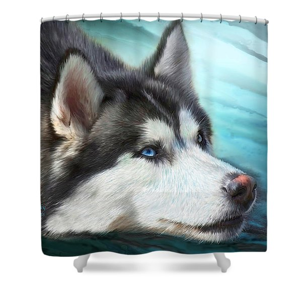 Siberian Husky Shower Curtain by Carol Cavalaris