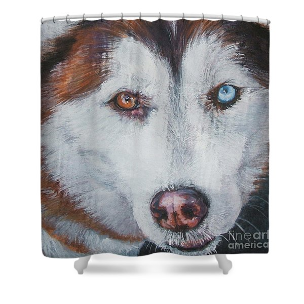 Siberian husky red Shower Curtain by Lee Ann Shepard