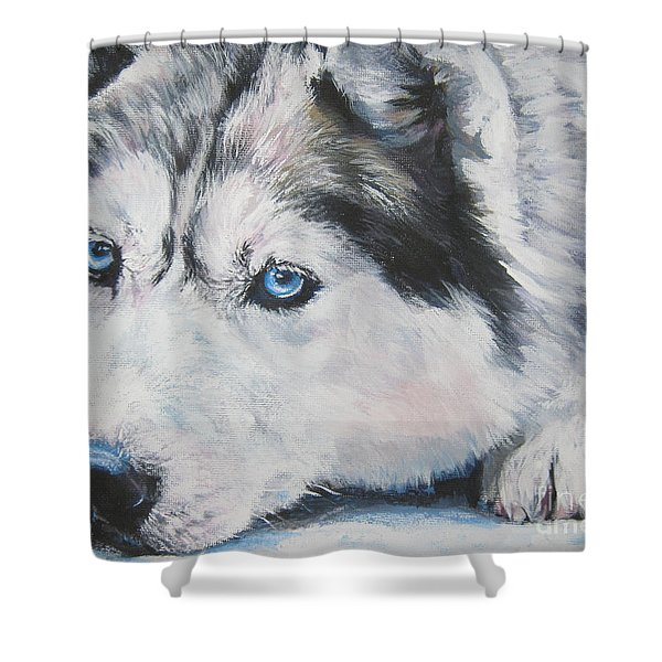 Siberian Husky Up Close Shower Curtain by L A Shepard