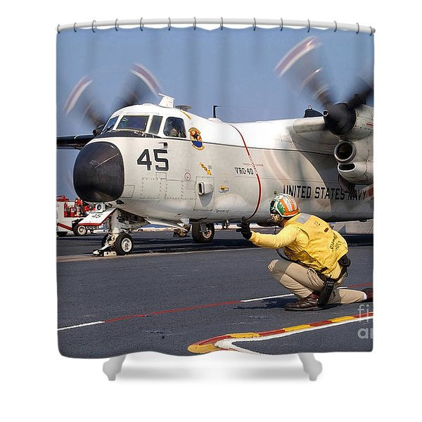Signalman Gives The Launch Signal Shower Curtain by Stocktrek Images