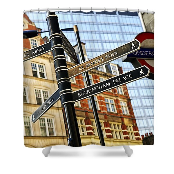 Signpost In London Shower Curtain by Elena Elisseeva