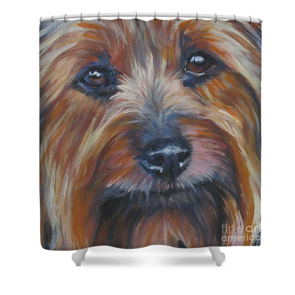Silky Terrier Shower Curtain by Lee Ann Shepard
