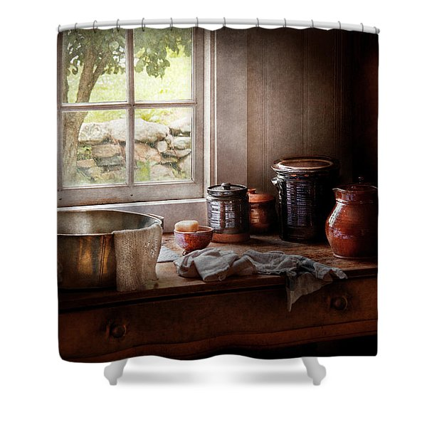 Sink - The morning chores Shower Curtain by Mike Savad