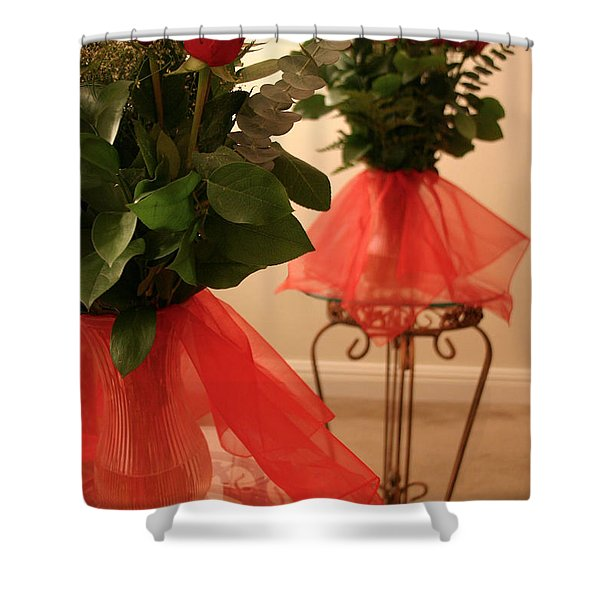 Skirted Roses in Mirror Shower Curtain by Kristin Elmquist