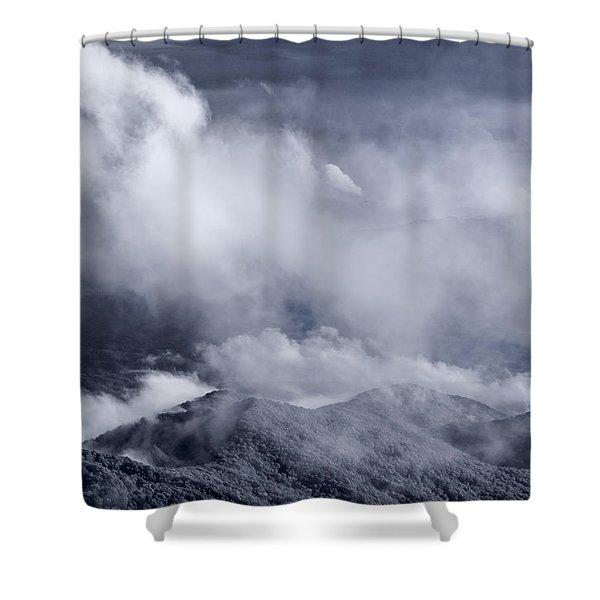 Smoky Mountain Vista In B and W Shower Curtain by Steve Gadomski