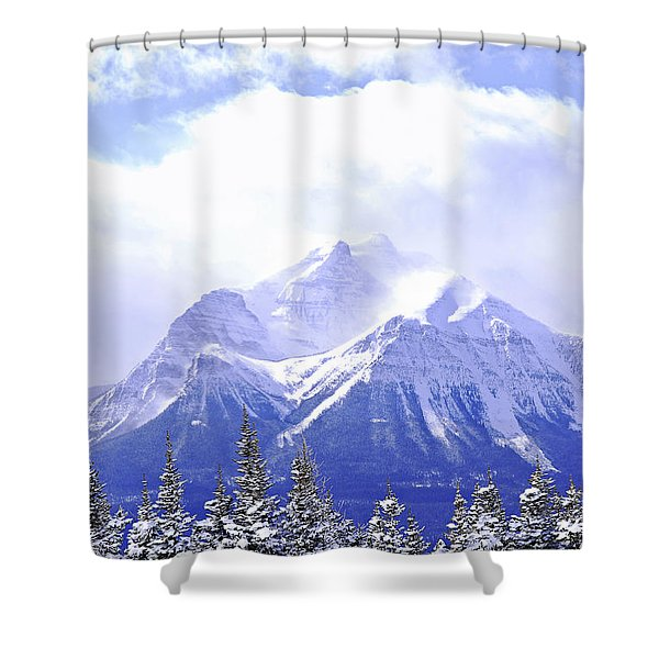 Snowy mountain Shower Curtain by Elena Elisseeva