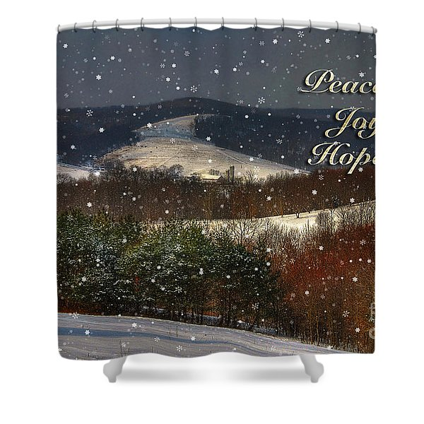 Soft Sifting Christmas Card Shower Curtain by Lois Bryan