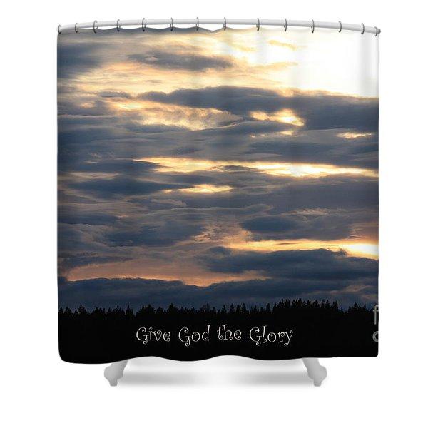 Spokane Sunset - Give God The Glory Shower Curtain by Carol Groenen