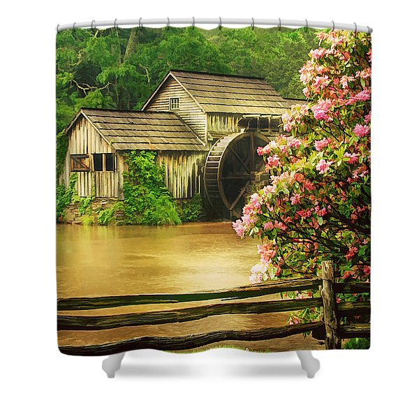 Spring At The Mill Shower Curtain by Darren Fisher