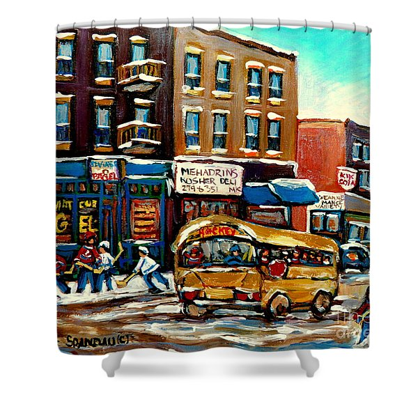 ST. VIATEUR BAGEL WITH HOCKEY BUS  Shower Curtain by CAROLE SPANDAU