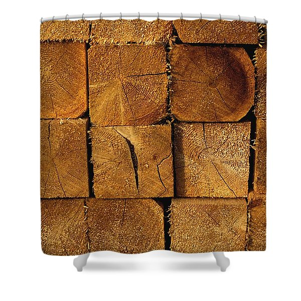 Stack Of Logs Shower Curtain by David Chapman