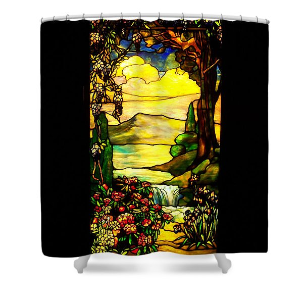 Stained Landscape Shower Curtain by Donna Blackhall