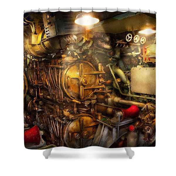 Steampunk - Naval - The Torpedo Room Shower Curtain by Mike Savad