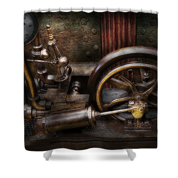 Steampunk - The Contraption Shower Curtain by Mike Savad