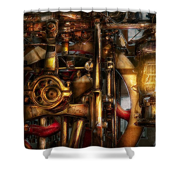 Steampunk - Mechanica Shower Curtain by Mike Savad