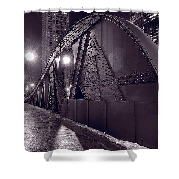 Steel Bridge Chicago Black And White Shower Curtain by Steve Gadomski