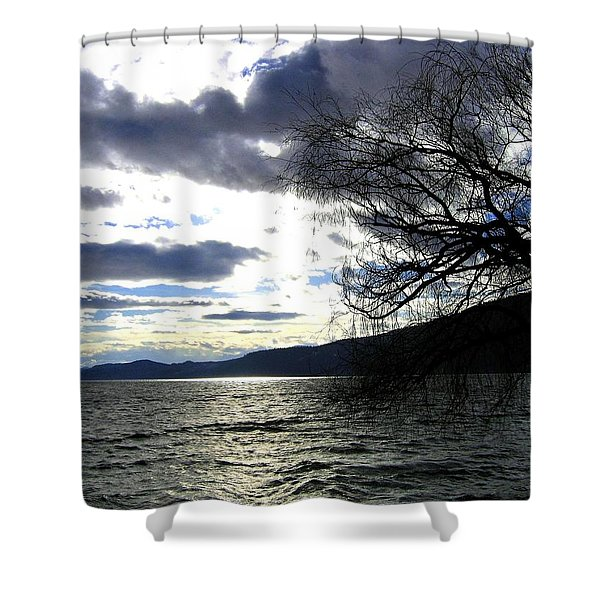 Sterling Silver Sunset Shower Curtain by Will Borden